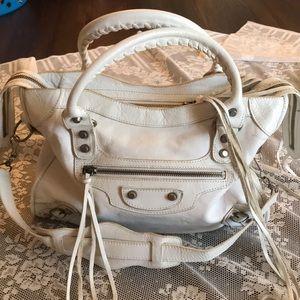 BALENCIAGA PARIS white Leather City Bag